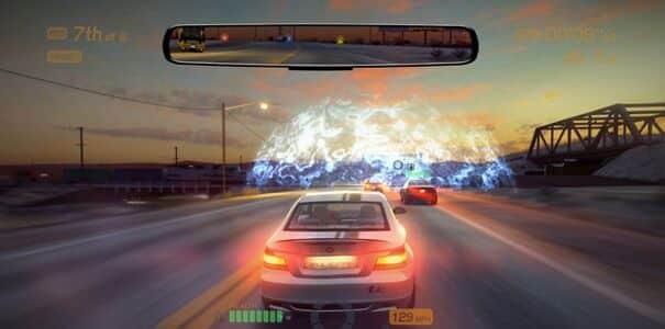 Retrovisor do jogo Blur.