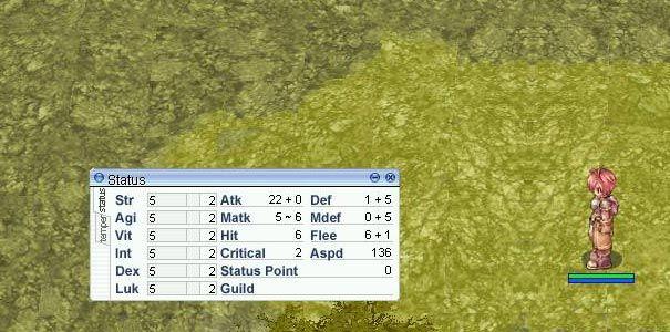 Janela de atributos no Ragnarok Online.