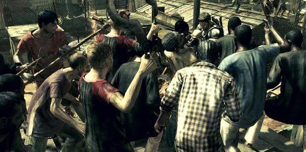 Resident Evil 5 - rodeado por uma horda de zumbis