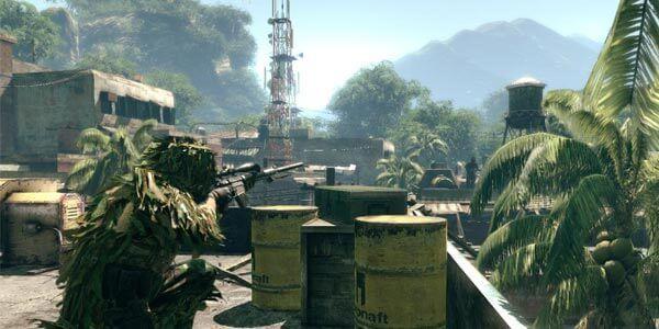 Mirando na caixa d'água em Sniper Ghost Warrior