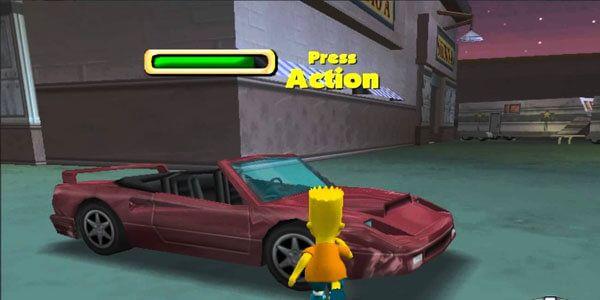 The Simpsons Hit & Run - Bart querendo usar um carro indevidamente