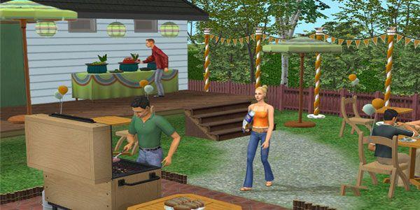Sims se divertindo em um churrasco em The Sim 2