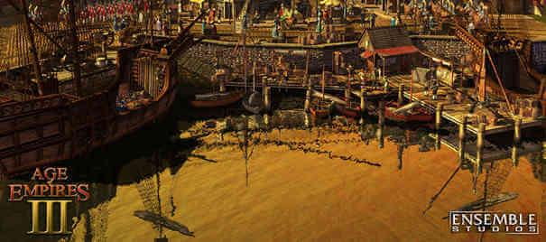 Barcos nas docas em Age of Empires 3