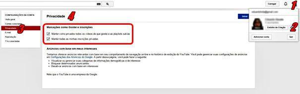 Alterando configurações de privacidade no YouTube