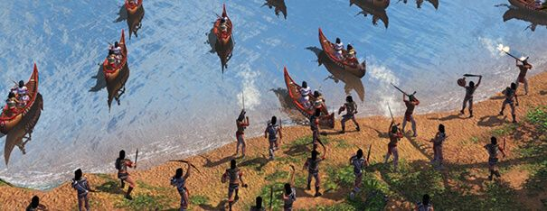 Ataque de índios em Age Of Empires 3.