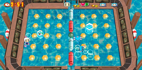 Mapa azul no Bomberman Online.
