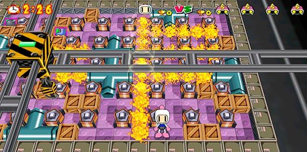 Bombas de fogo no Bomberman Online.