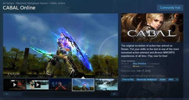 Cabal Online no Steam - download através de VPN HSS