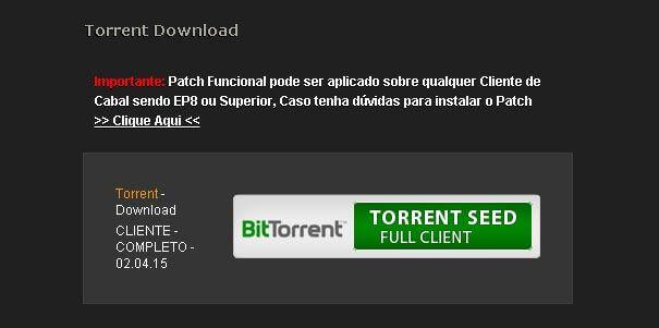 Tela de download do cabal pirata via uTurrent.