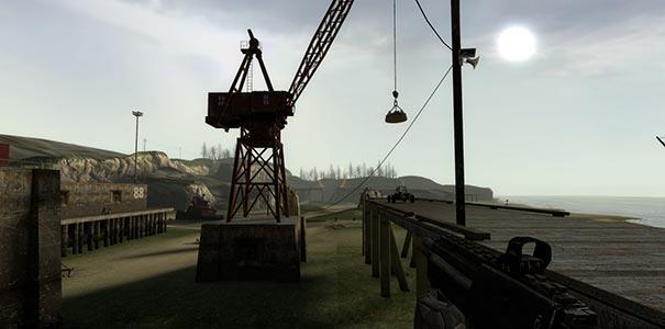 Cenário de um cais em Half-Life 2.
