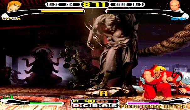 Ken lutando com Geese em Capcom vs SNK.