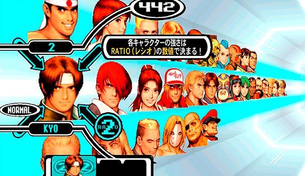 Seleção de personagens em Capcom vs SNK.