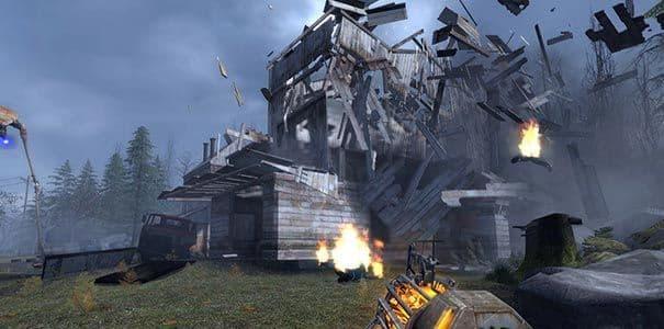 Destruindo uma casa em Half-Life 2.