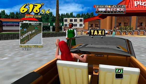 Pegando passageiro no Crazy Taxi.