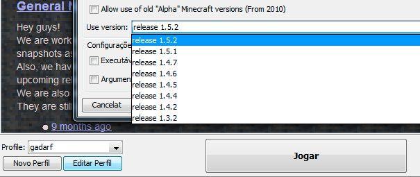 Escolhendo a versão do Minecraft Pirata.