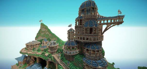 Uma construção complexa no Minecraft.