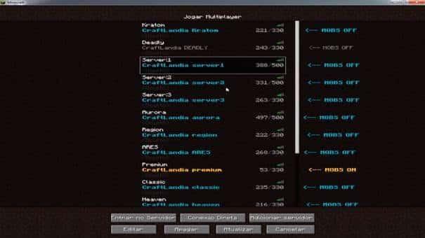 Craftlandia download, a lista de servidores.