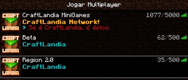 Seleção de servidores do Craftlandia.