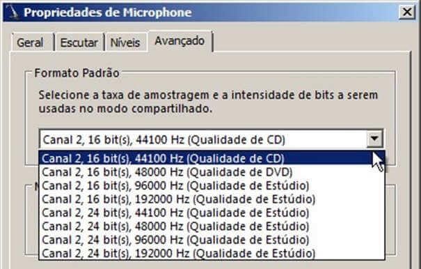 Configurações do Windows para testar seu microfone.