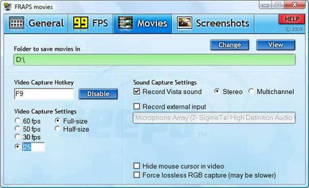 Como Gravar Vídeos FRAPS - interface