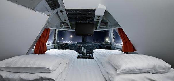 Aqui você irá dormir em um jumbo de verdade.