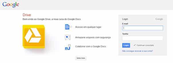 Tela de login do google drive.
