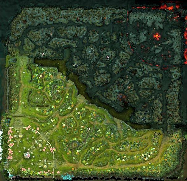 Exemplo de um mapa em dota.