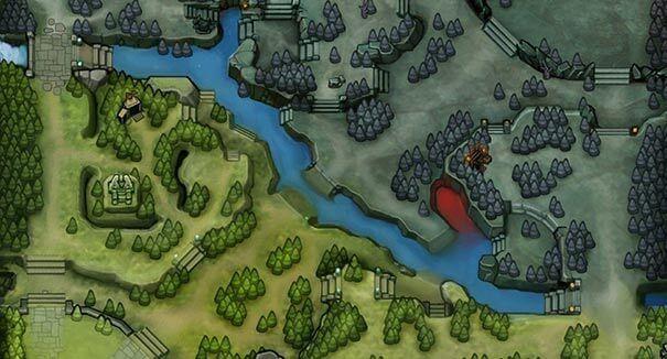Estilo dos mapas em Dota 2.