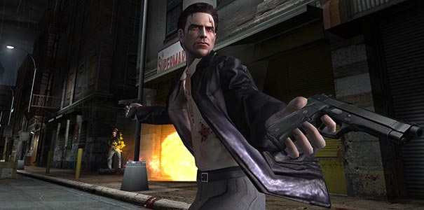 Max Payne em acao com duas armas.