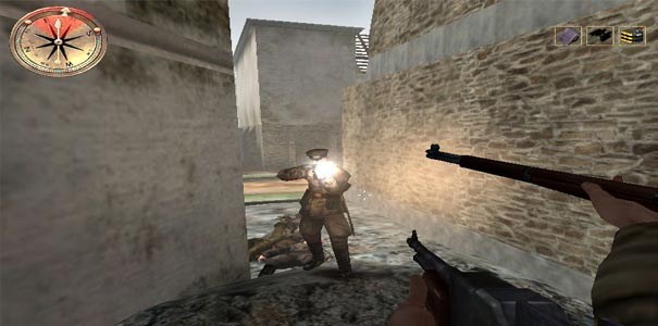 Tiroteio no beco em Ataque a normandia em Atirador de elite em Medal of Honor Allied Assault.