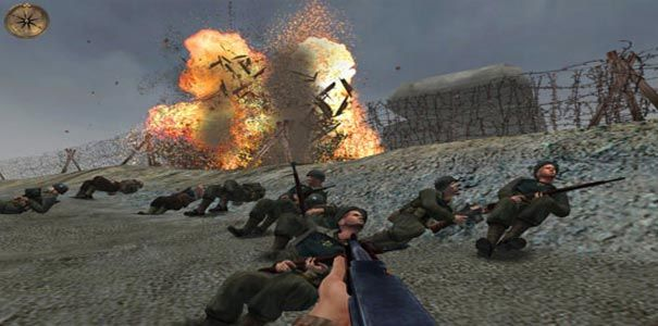 Ataque a normandia em Atirador de elite em Medal of Honor Allied Assault.
