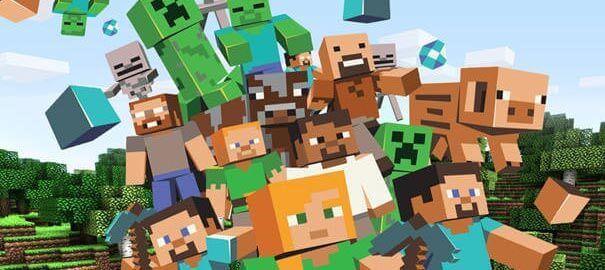 Vários personagens no Minecraft.