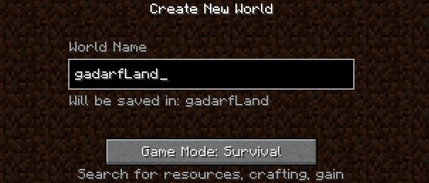 Criando um mundo no Minecraft.