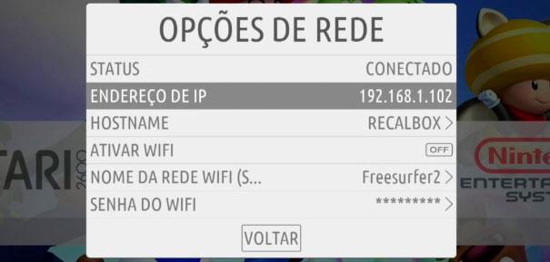 Opções de rede do recalbox.