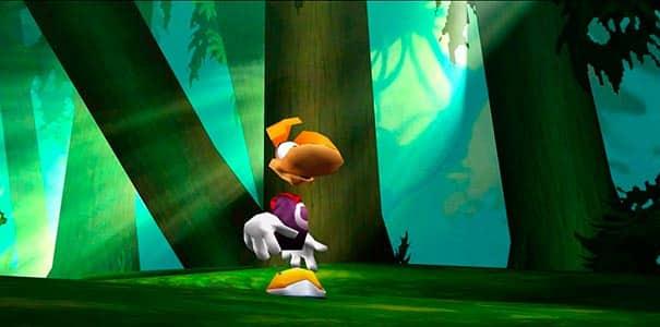 Rayman em uma floresta.