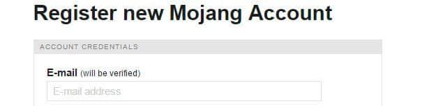 Registrar uma conta na Mojang.