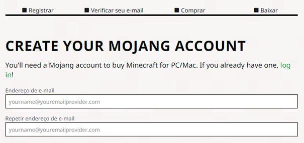 Registrar, verificar, comprar e baixar minecraft.
