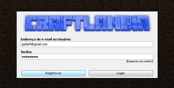 Tela de registro no Craftlandia Minigames.