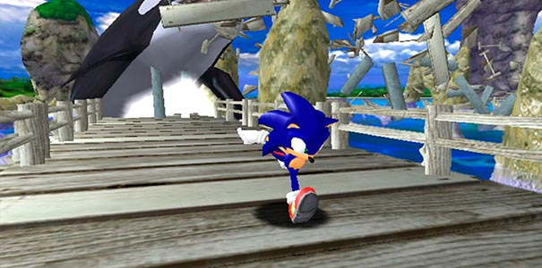Sonic fugindo da baleia.