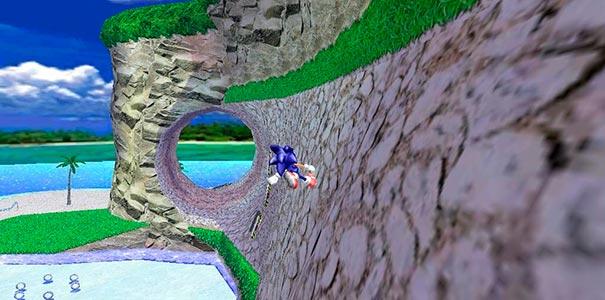 Sonic no túnel.