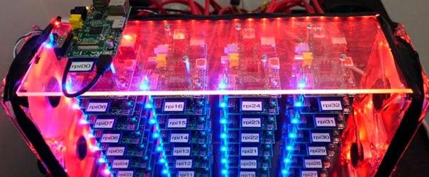Um super computador construído com várias RPI.
