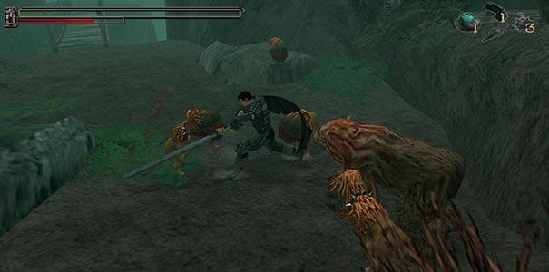 Destroçando inimigos no Sword Of The Berserk Guts Rage.