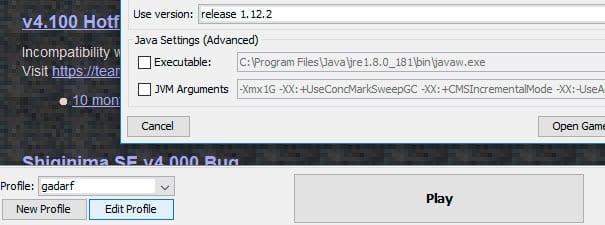 Escolhendo a versão no Shiginima Launcher V4.100.