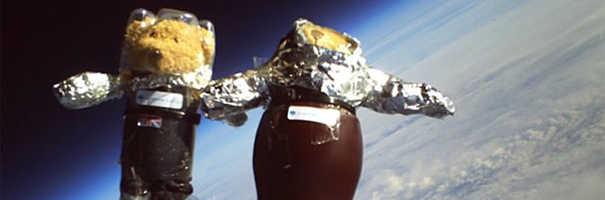 Ursos de pelúcia enviados ao espaço.