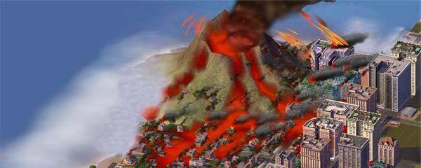 Um vulcao em SimCity 4.
