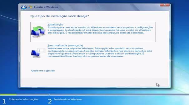 Windows 7 - opções instalação