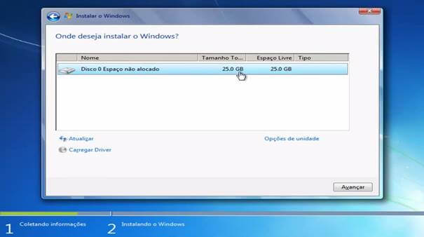 Windows 7 - opções partição