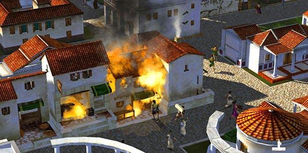 Cidadãos Fugindo De Uma Casa Pegando Fogo Em Caesar IV